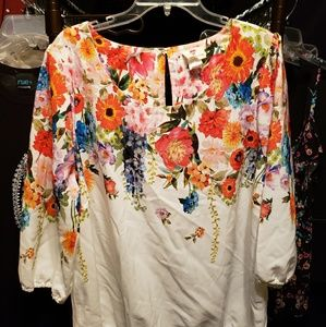 Bubble Hem Floral Blouse 2XL GUC One Clothing